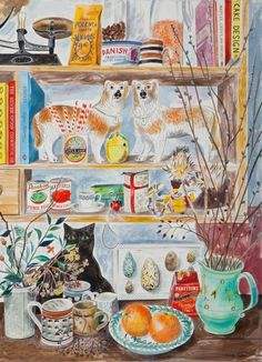 """Portobello Dogs"" by Emily Sutton (but le chat noir rules) Jig Saw, Illustration Art, Illustrations, Inspirational Artwork, Naive Art, Cat Art, Watercolor Paintings, Watercolors, Folk Art"