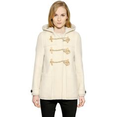 Burberry Hooded Wool Blend Duffle Coat ($1,145) ❤ liked on ...