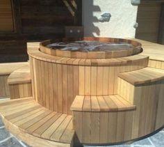 Spa à poser LEKINGSTORE Spa naturel en Bois luxe Diamètre 220 cm 8 Personnes