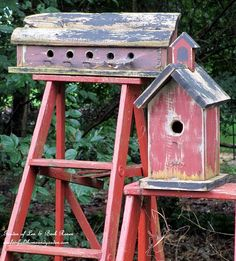 Repurpose ladders into birdhouse stands!