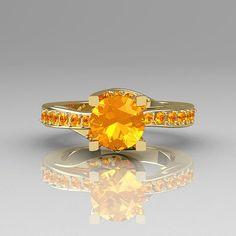 Yellow Citrine wedding ring