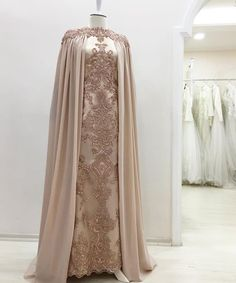Long cape sequin details dress