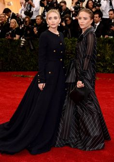 Ashley Olsen and Mary-Kate Olsen donned a conservative look when they walked the red carpet at the Met Gala. While MK wore vintage Ferre, her sister Ashley wore vintage Chanel on May 5, 2014