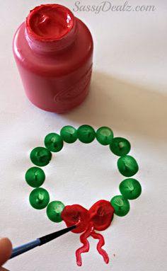 Cute Fingerprint Christmas Wreath Craft For Kids #Christmas craft for kids | CraftyMorning.com