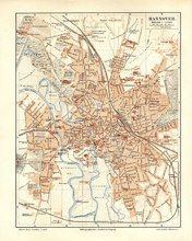 "hannover map german 1894 lithograph 6 x 9"" $25"