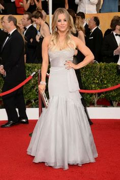 Kaley Cuoco on 2014 SAG Awards Red Carpet... Who will make our Good. Bad. And, Fire Your Stylist. List on the Oscar's red carpet?