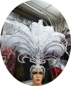 Cabaret Showgirl Ostrich Crystal Feather Head Dress