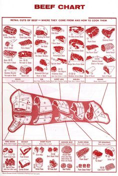Beef chart of retail cuts. So that you know how to prep a cow.Beef chart of retail cuts. So that you know how to prep a cow. Carne Asada, Beef Cuts Chart, Cuts Of Beef, Cuts Of Steak, Lamb Cuts, Boeuf Angus, Meat Recipes, Cooking Recipes, Gastronomia