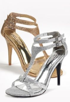 High Heel Double Ankle Strap Sandal from Camille La Vie and Group USA gold and silver shoes