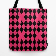 I just love pink. Love love. Harlequin Grunge { Pink + Black } Tote Bag