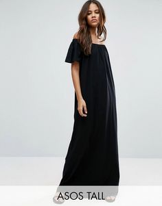 Get this Asos Tall's long dress now! Click for more details. Worldwide shipping. ASOS TALL Off Shoulder Maxi Dress - Black: Tall dress by ASOS TALL, Pure cotton jersey, Bardot neck, Short sleeves, Relaxed fit, Machine wash, 100% Cotton, Our model wears a UK 8/EU 36/US 4 and is 180cm/5'11 tall, Maxi dress length between: 164-169cm. Find fresh wardrobe wins with our ASOS TALL edit. Raise your sunrise-till-sunset game with occasion dresses, cool separates and jeans that go up to a 38� leg…