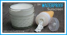 DIY Waterproof Sunscreen (That's Good For Your Skin) - Real Food RN. There's a tip to add carrot seed and raspberry seed oil because they add more SPF. Homemade Sunscreen, Natural Sunscreen, Homemade Facials, Homemade Beauty Products, Lush Products, Natural Products, Beauty Recipe, Young Living Essential Oils, Herbal Remedies