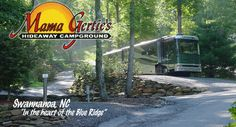 Mama Gerties offers full hook up RV sites for motor homes, trailers, 5th wheels and sites for pop ups and tent camping along with rental cabins. We are located near many Asheville recreation spots including the Biltmore Estate.