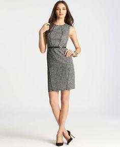 Petite Piped Tweed Sheath Dress | Ann Taylor