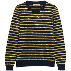 Michael Kors Collection Striped sequined cashmere sweater (25,135 MXN) ❤ liked on Polyvore featuring tops, sweaters, gold, embellished sweaters, sequin sweater, navy sweater, sequin top and navy crew neck sweater