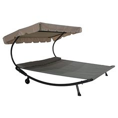 Abba Patio Outdoor Portable Double Chaise Lounge Hammock Bed with Sun Shade and Wheels  sc 1 st  Pinterest & Patio Furniture Hammock 2 Person With Canopy Outdoor Bed Pool Deck ...