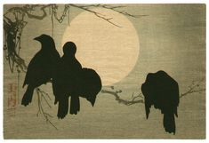 Ogata Korin After: Crows and the Moon - ArtelinoOriginal painting by Korin in Edo period. This print was made probably in Meiji period (1868 - 1912). Japan, japanese, crow, bird,