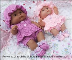 """Summer Suit 10"""" & 14"""" 'Lots to Love' Berenguer doll-knitting pattern, lots to love, berenguer, doll"""
