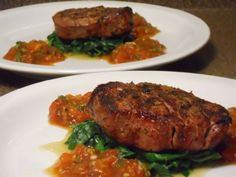 HCG Phase 2 - Filet Mignon with Smoky Tomato and Wilted Spinach Recipe