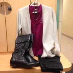2016-02-26. Magenta Ponca City polo. Black denim jeans. Grey IM boyfriend sweater. Black leather flat boots.
