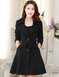 Áo khoác dạ màu đen thời trang - A8968