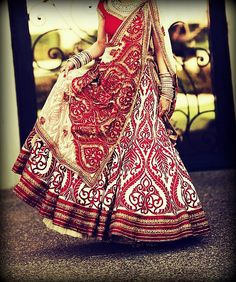 Gorgeous red and white floral bridal outfit!