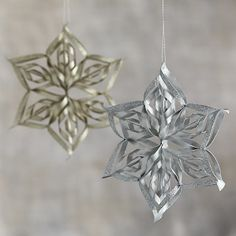 Curled Paper Star with Champagne and Silver Glitter Ornaments I Crate and Barrel