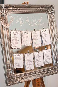 25 idées pour son plan de table mariage original et super chic - Marci Ut. Wedding Mirror, Wedding Frames, Wedding Table Seating, Wedding Table Numbers, Wedding Table Planner, Wedding Seating Charts, Vintage Table Numbers, Table Seating Cards, Wedding Table Themes