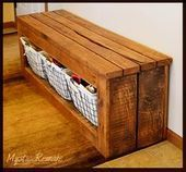 Wood Pallet Projects Pallet Wood Storage Bench More - Various creative and easy to make DIY Pallet Projects that will inspire you to make something unique and interesting for your home. Pallet Crafts, Diy Pallet Projects, Home Projects, Woodworking Projects, Woodworking Plans, Unique Woodworking, Woodworking Patterns, Wooden Pallets, Pallet Wood