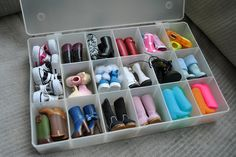 I found this old bead organizer that I am no longer using for my jewelry business and thought it would be perfect for storing my Blythe shoes. I then quickly realized I had more pairs than I thought so it has become the boot storage. I have to admit