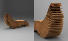 Corrugated cardboard chaise lounge from designer Adrian Candela. Never made it to production, unfortunately.