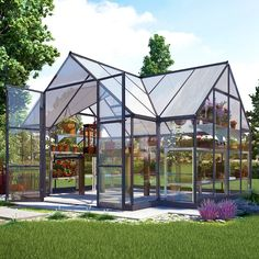 The Chalet greenhouse has the vaulted ceilings, have plenty of room for trellising tall growing plants or climbing vines. Two adjustable roof vents and double swinging doors provide ample ventilation to control heat and humidity. The wide double door opening makes moving items in and out a breeze and it's also equipped with a threshold ramp for easy access. Headroom gives space to work and move around. This versatile structure has a powder coat charcoal Gray aluminum frame and cathedral ...