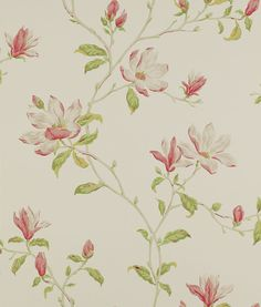 Marchwood Pink / Green wallpaper by Colefax and Fowler