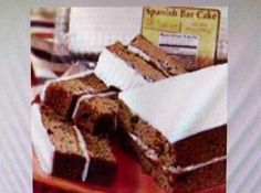 Recipe for A&P Original Spanish Bar Cake! My mother bought these delicious cakes when I was a child. They were my dad's favorite. Very moist, not too sweet- just perfect! Cake Recipes, Dessert Recipes, Cocoa Cinnamon, Just A Pinch, Recipe Box, Loaf Cake, Pound Cake, Spice Cake, Gourmet