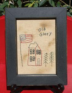 Items similar to Old Glory Framed Primitive Patriotic Stitchery on Etsy Primitive Embroidery, Primitive Stitchery, Primitive Patterns, Primitive Crafts, Primitive Christmas, Country Christmas, Christmas Christmas, Cross Stitch Embroidery, Hand Embroidery
