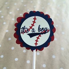 Baseball Cupcake Toppers | Baseball Baby Shower Decorations