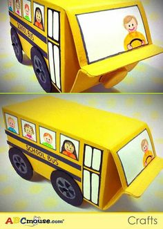 Recycled toys with milk carton - buses. Kids Crafts, Preschool Crafts, Projects For Kids, Diy For Kids, Craft Projects, Recycling For Kids, Easy Crafts, Easy Diy, Recycled Toys