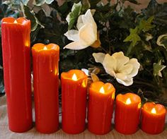 """LED Lytes Flameless Candles with Timer, SLIM Set of 6, 2"""" WIDE and 2""""- 9"""" TALL, Red Color Wax and Amber Yellow Flame for Holidays, Weddings and Parties"""