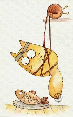Mission Impossible by Maria-van-Bruggen on DeviantArt Illustrations, Illustration Art, Guache, Cat Drawing, Pictures To Paint, Watercolor And Ink, Stone Painting, Rock Art, Cat Art