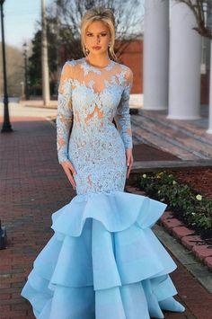 Long Sleeves Mermaid Prom Dresses 2018 Sheer Neck Appliques Lace Organza  Backless Light Sky Blue Evening Dresses Formal Party Dresses Von Maur Prom  Dresses ... e114da0cede1
