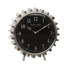 The right clock can bring everything together. If you've got an eye for the industrial, you'll enjoy this one, with its toothed edging shaped like a silvery gear. It's a great accessory for car lovers and innovative decorators alike.