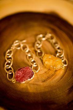Quartz Gold Toggle Chain Bracelet, MUSTARD or FUSCHIA
