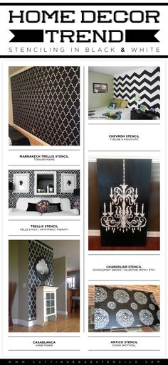Cutting Edge Stencils shares stenciled spaces inspired from the recent black and white home decor trend.http://www.cuttingedgestencils.com/w...