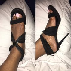 Gucci heels they are authentic Black suede heels by Gucci. They need some TLC. They are a 5 inch heel. The suede needs cleaning. You still can get a lot of wear out of them. MAKE ME A REASONABLE OFFER‼️ Gucci Shoes Heels