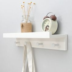 Limited Price for Wall Shelf Wood Wall Storage Rack Organizer Household Sundries Wall Decor Holder Key Hanger Storage Shelves With Hanging H. Wall Shelf Rack, Wood Storage Rack, White Wall Shelves, Wooden Wall Shelves, Wall Mounted Coat Rack, Wall Mounted Shelves, Wall Storage, Wall Hanger, Wooden Walls