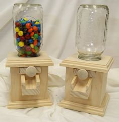 Natural Wood - Hand-made Wood Candy Dispenser - M&M Peanut Skittles Snack
