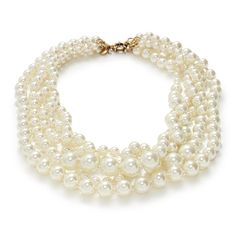 "We strung graduated rows of hand-wrapped pearls slightly askew to create that perfectly imperfect look. <ul><li>Length: 21"".</li><li>Acrylic and glass pearls, brass.</li><li>14k gold plating.</li><li>Import.</li></ul>"