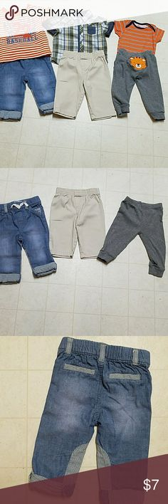 Bundle of boys clothes Bundle of boys clothes in size 6 to 9 months includes three bottoms and three tops. Orange and white striped shirt with the number 22 made by Children's Place. Plaid button-down shirt made by first impressions. Blue jeans with Pinstripes made by Cherokee. A pair of khaki pants maker unknown. Grey pants with a tiger on the butt made by Child of Mine. And orange and blue onesie made by Gerber's will not separate bundle mix Matching Sets
