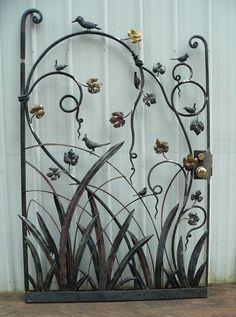 New Metal Door Design Wrought Iron Garden Gates Ideas Wrought Iron Garden Gates, Garden Gates And Fencing, Wrought Iron Decor, Metal Gates, Wrought Iron Designs, Fence, Metal Garden Art, Metal Art, Tor Design