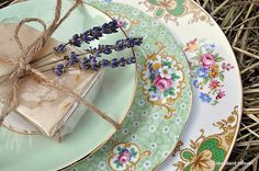 Vintage mismatched plate stack in greens